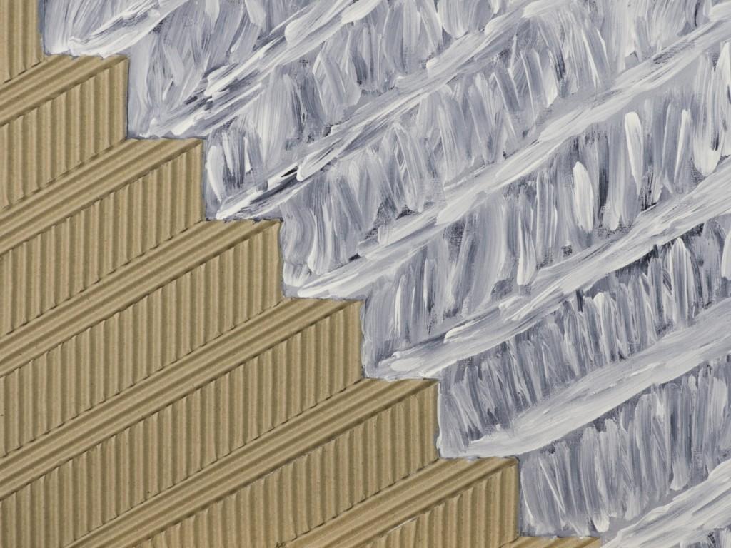 Fortlaufend, von stebü 2011 Acryl / Hartfaser / Wellpapier 30cm x 40cm