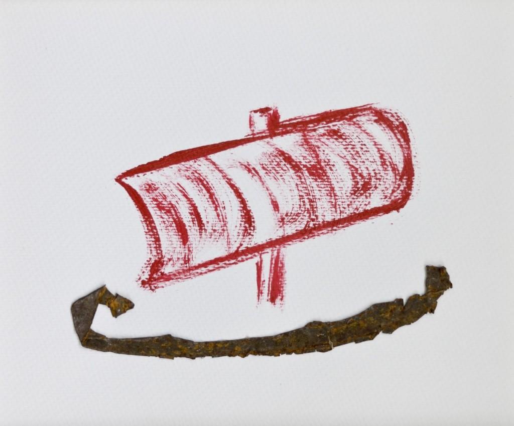 Es kommt ein Schiff gefahren, von stebü 2011 Papier/Buntlack/Blech 26cm x 26cm