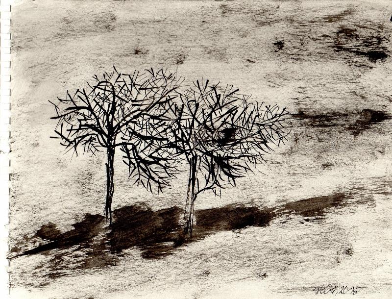 """Winter"", stebü, 12.2.15, Tusche+Papier, 18cmx24cm"