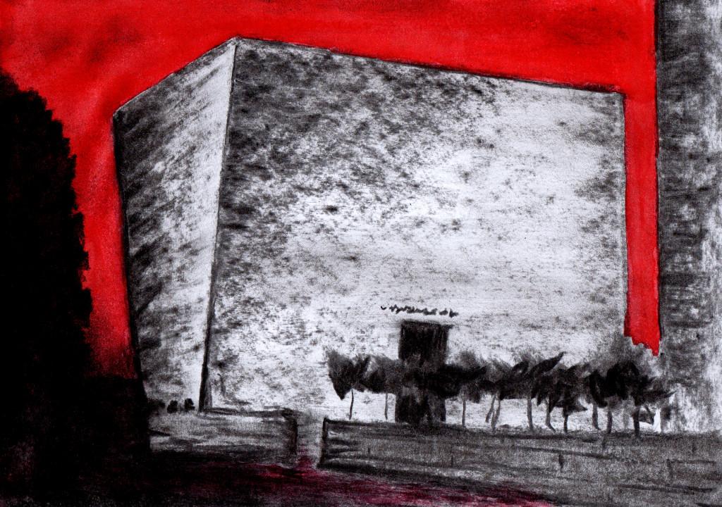 """""""Synagoge-Dresden"""", stebü, 06.05.2015, Papier+Kohle+Tusche, 21,0 cm x 29,5 cm Ich betrachte den ansteigenden Antisemitismus mit Sorge!"""