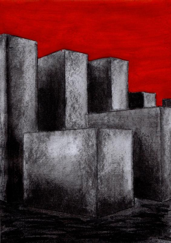 """""""Holocaust-Mahnmal, Berlin"""", mal aus einer anderen Perspektive, stebü, 04.06.2015, Papier+Kohle+Tusche, 29,0 cm x 21,00 cm"""