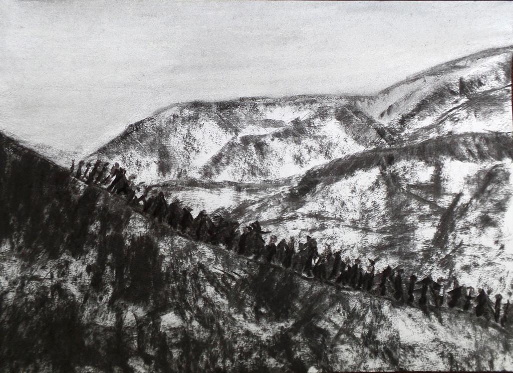 """Die Wanderung"", stebü, 20.09.2015, Papier+Kohle, 29,5cm x 42,0cm"