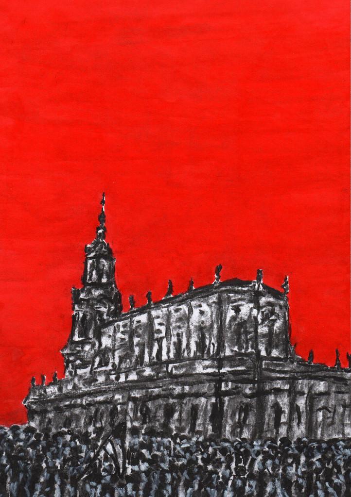 """Hofkirche / Dresden"", stebü, 05.11.2015, Papier+Kohle+Tusche, 29,0 cm x 21,00 cm"
