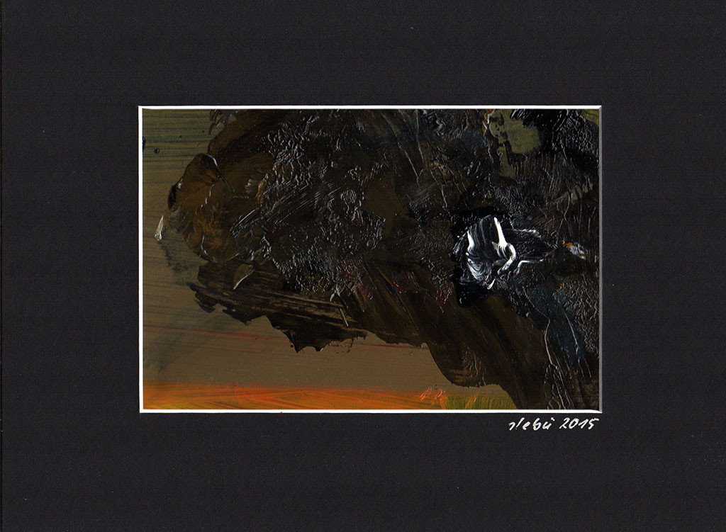 """Dunkelheit"", stebü, 13.12.2015, Acryl+Papier, 18cmx24cm"