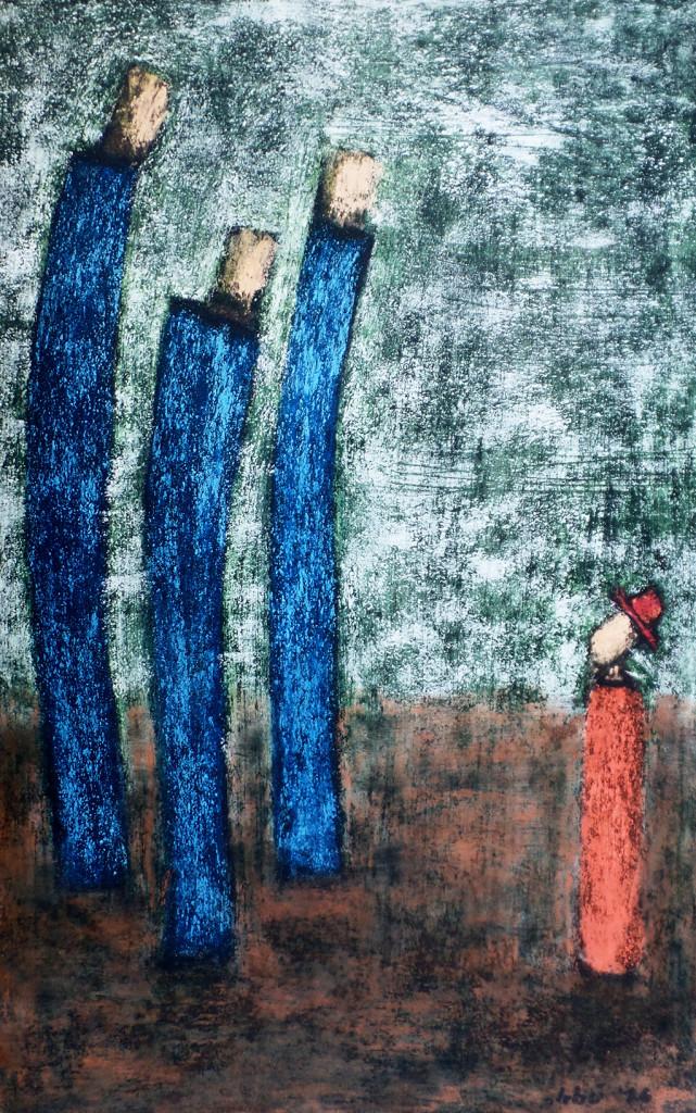 """""""Der Eine"""", stebü, 02.04.2016, Papier+Tafelkreide, 59,0cm x 38,0cm,"""