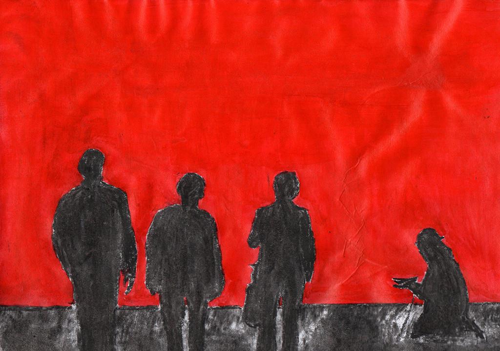 """""""Die Würde des Menschen ist unantastbar?????"""", stebü, 14.4.2016, Papier+Kohle+Tusche, 21,0 cm x 29,5 cm"""