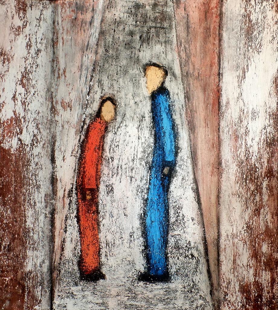 """""""Wir"""", stebü, 03.04.2016, Papier+Straßenmalkreide+Kohle, 41,0cm x 37,0cm, Nach dem gleichnamigen Roman von Jevgenij Samjatin"""