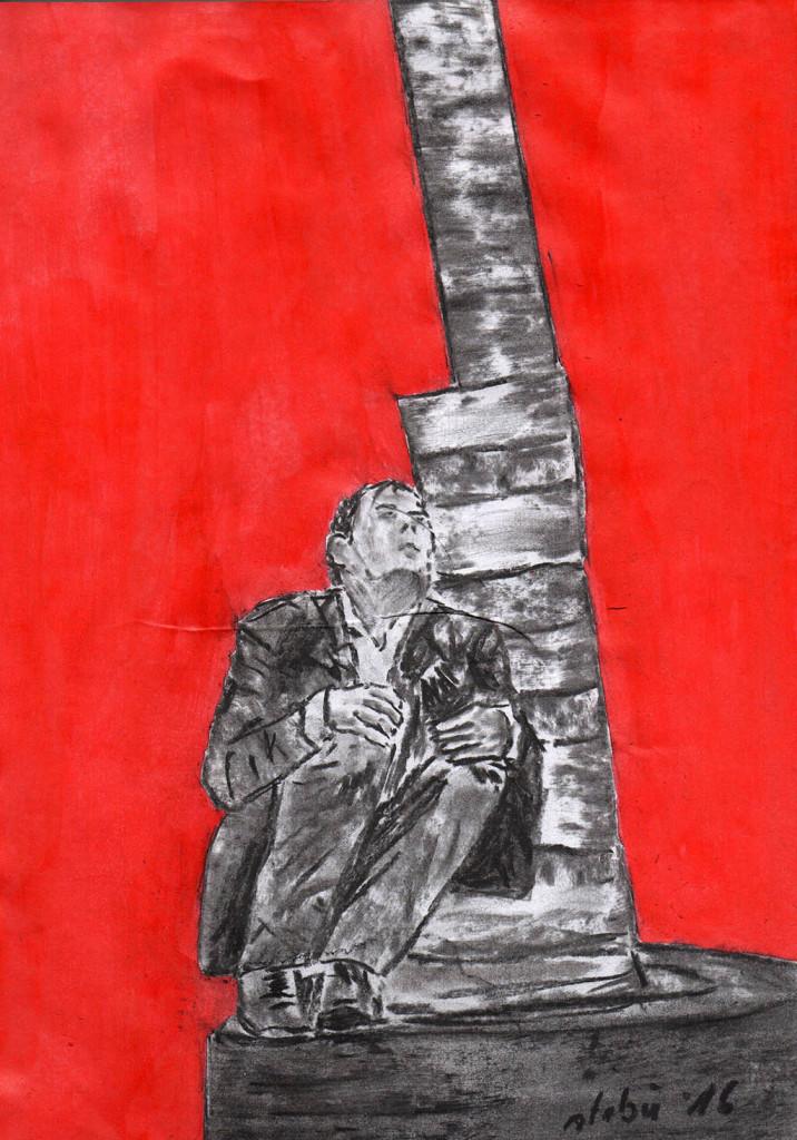 """""""Auf der Straße"""", stebü, 03.06.2016, Papier+Kohle+Tusche, 29,5 cm x 21,00 cm"""