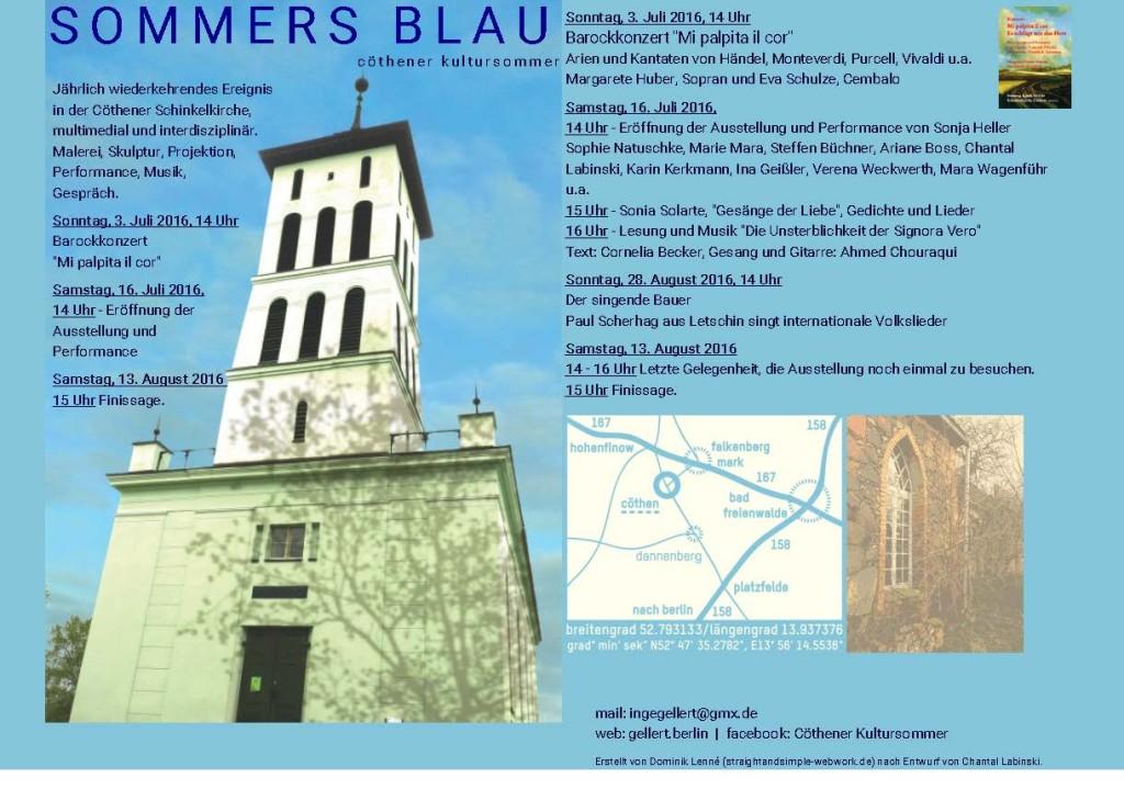"""Gemeinschaftsausstellung:"""" SOMMERS BLAU"""", Cöthen, 16.07. - 13.08.2016"""