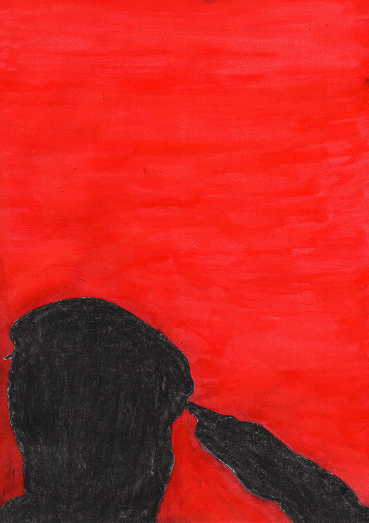 """""""Allen missbrauchten Soldaten"""", stebü, 18.07.2016, Papier+Kohle+Tusche, 29,5 cm x 21,00 cm"""