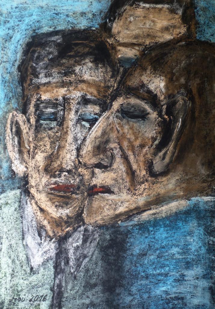 """Ratlos"", stebü, 17.07.2016, Papier+Straßenmalkreide+Kohle, 50,0cm x 70,0cm"