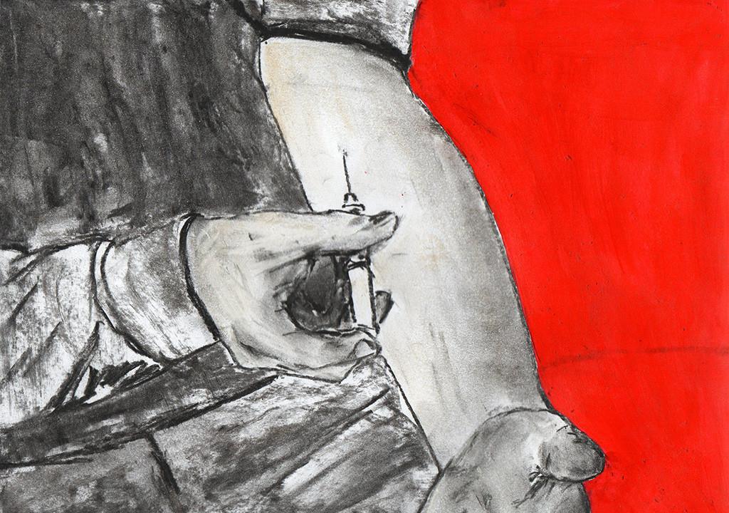 """Drogen töten"", stebü, 11.08.2016, Papier+Kohle+Tusche, 21,0 cm x 29,5 cm"