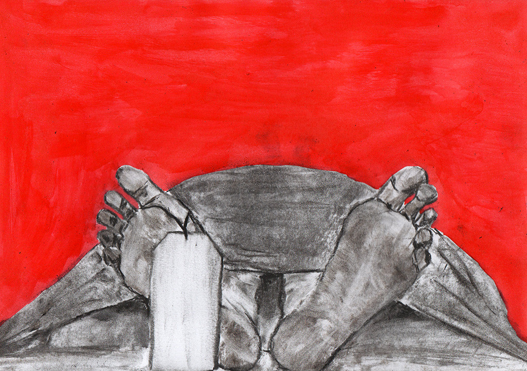 """Drogen töten"", stebü, 15.08.2016, Papier+Kohle+Tusche, 21,0 cm x 29,5 cm"