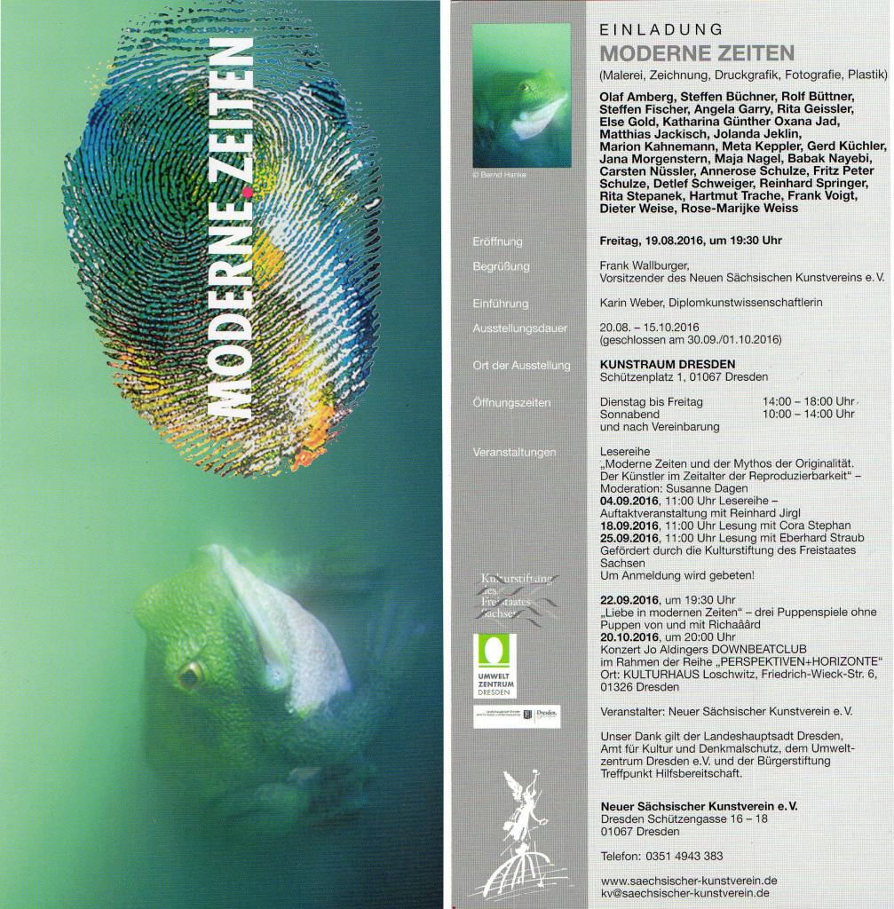 """Gemeinschaftsausstellung: """"MODERNE ZEITEN"""", Dresden, 20.08. – 15.10.2016"""