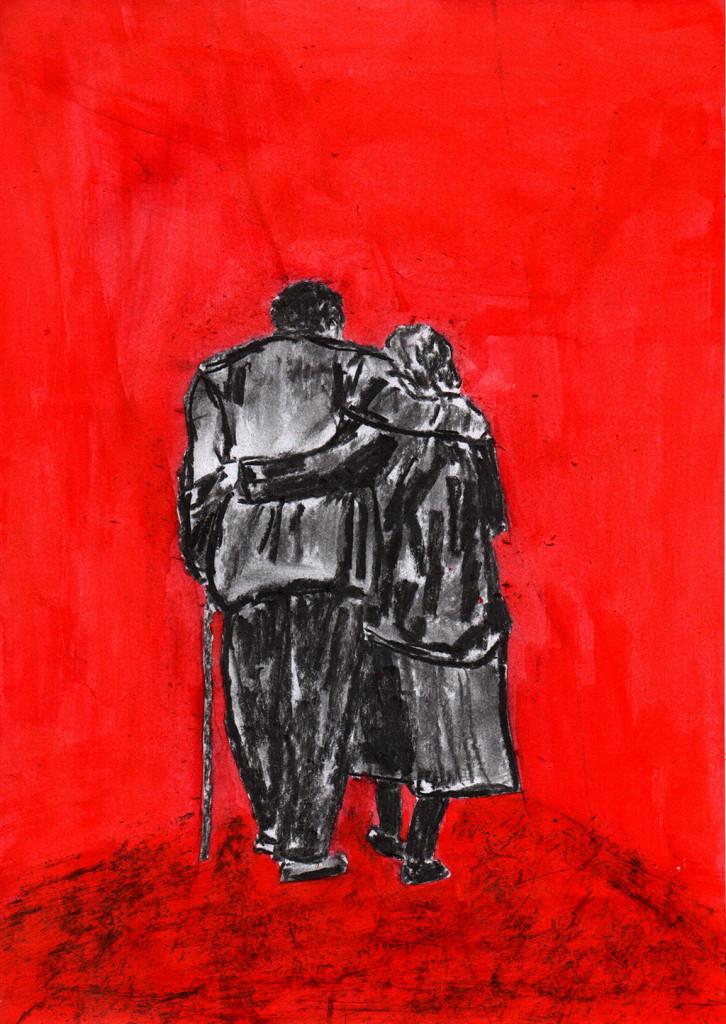 """""""Wem der grosse Wurf gelungen, Eines Freundes Freund zu sein,.../ The man who's been so fortunate To become the friend of a friend,..."""", stebü, 28.10.2016, Papier+Kohle+Tusche, 29,5 cm x 21,00 cm"""