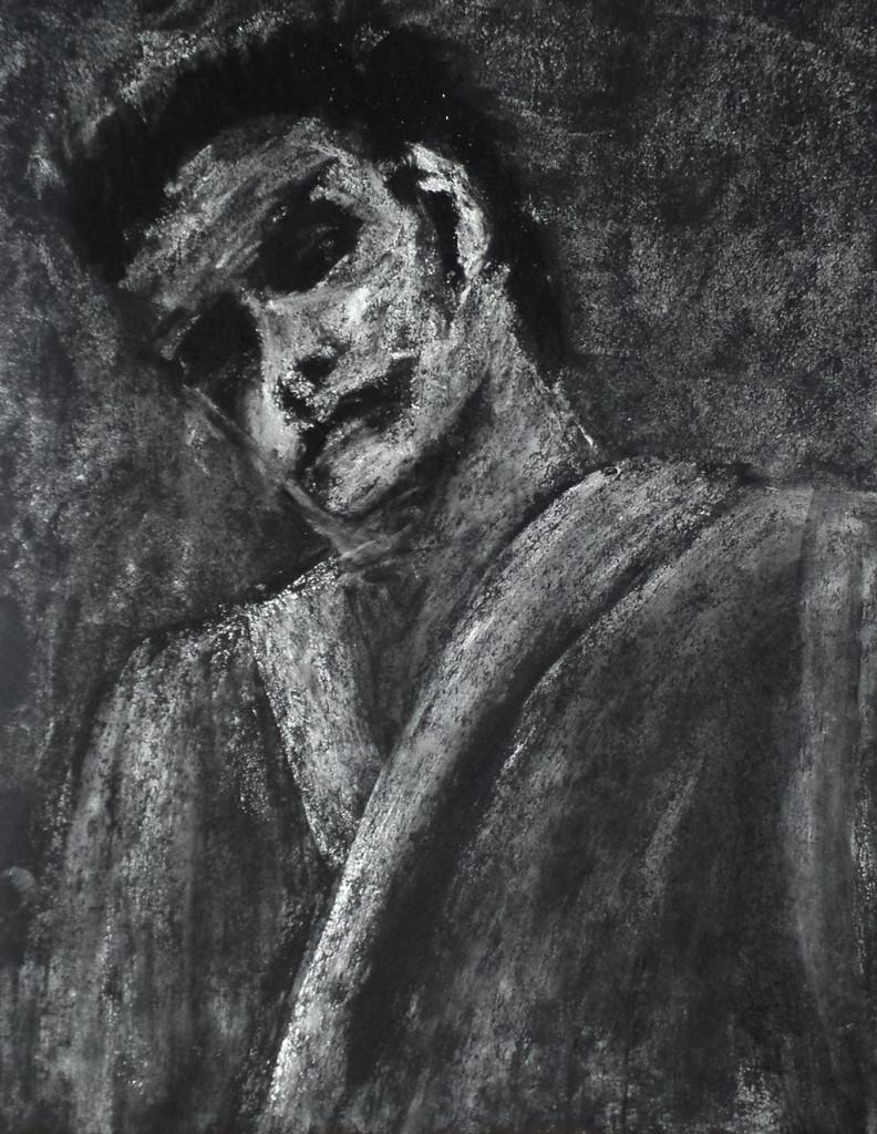 """""""Nach der Schlacht"""", stebü, 05.11.2016, Papier+Kohle+Kreide, 32,0 cm x 40,00cm, angeregt durch den gleichnamigen Titel der Gruppe RENFT"""