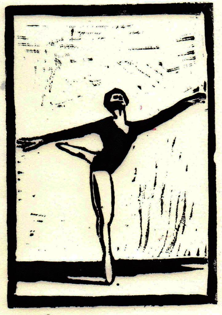 """""""Der Tanz"""", stebü, 26.01.2017, Linolschnitt, 15cm x 10cm"""