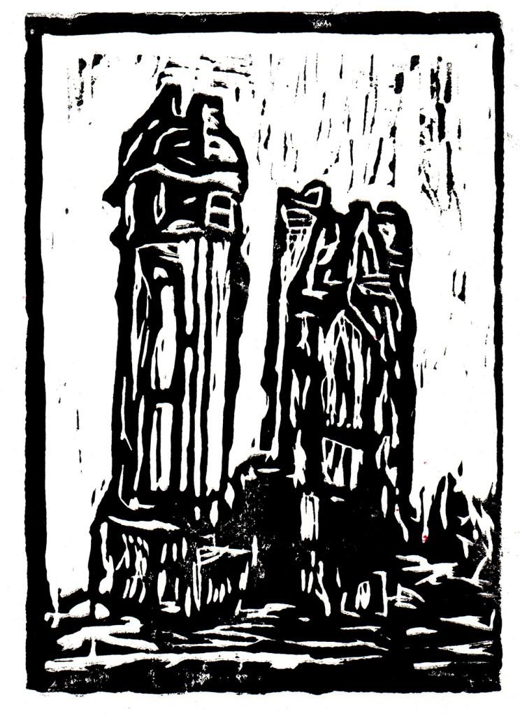 """""""Mahnung"""", stebü, 08.01.2017, Linolschnitt, 21cm x 15cm"""