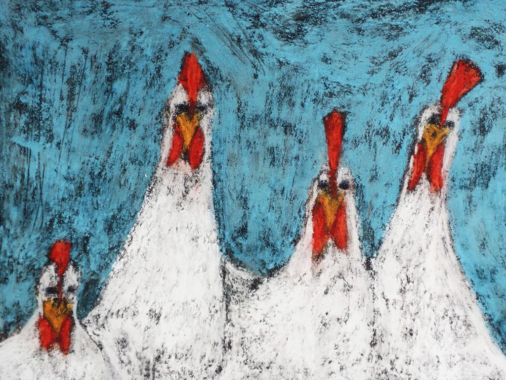 """Hähnchen"", stebü, 21.03.2017, Straßenmalkreide+Papier, 40,00 cm x 30,00 cm"