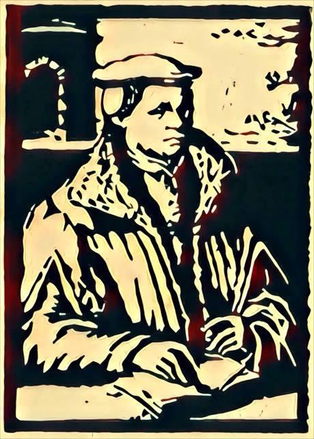 """""""Der Reformator Thomas Müntzer"""", stebü, 04.04.2017, Linolschnitt digital bearbeitet, 21cm x 15cm, Das Motiv entlehnte dem Kupferstich von Christoph van Sichem"""