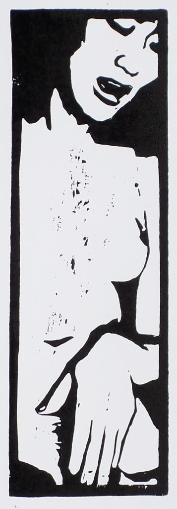 """Eva"", stebü, 27.04.2017, Linolschnitt, 10cm x 30cm"