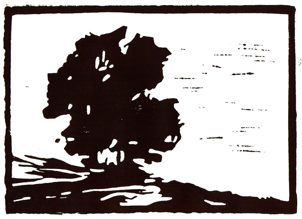 """""""Landschaft"""", stebü, 10.04.2017, Linolschnitt, 15cm x 10cm"""