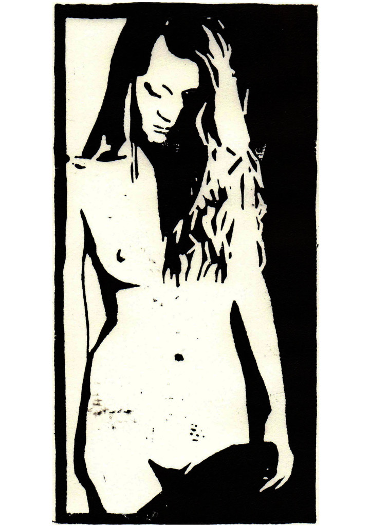 """Eva"", stebü, 19.05.2017, Linolschnitt, 11cm x 21cm"