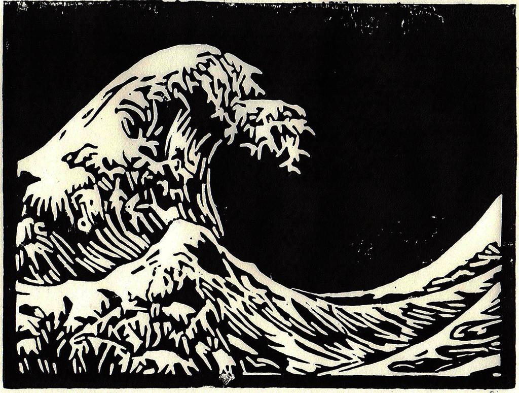 """""""Die Welle"""", stebü, 02.05.2017, Linolschnitt, 21cm x 15cm"""