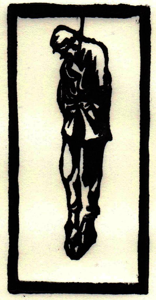 """""""Ecce homo / Siehe, der Mensch"""", stebü, 05.07.2017, Linolschnitt, ca. 20cm x 15cm Die einleitenden Worte zu diesem Bild sind aus der Korrespondenz mit Ulf Grieger.  Besser kann man ´Ecce homo` nicht beschreiben. Mit seinem Einverständnis veröffentliche ich diesen Text. Vielen Dank Ulf. """"Weißt du, wir sind oft dabei, wenn die Knochen der Jungs von der Schlacht hier in Seelow und Küstrin aus der Erde geholt werden. 17, 18, 19 20jährige,. Ehre ihrem Angedenken. Aber es gibt nichts, das an die erinnert, die von den Kettenhunden an die alten Eichen an der Straße nach Gusow mit dem Pappschild gehenkt wurden """"Ich war feig"""" erinnern. Ecce homo! Sie sind die Könige.Sie sind sich ihres Menschseins bewusst geworden. Menschen für sich. Ihr Pappschild ist die Dornenkrone. Ein stolzes Zeichen des Widerstandes gegen Unterordnung."""" / Ulf Grieger / 2017"""