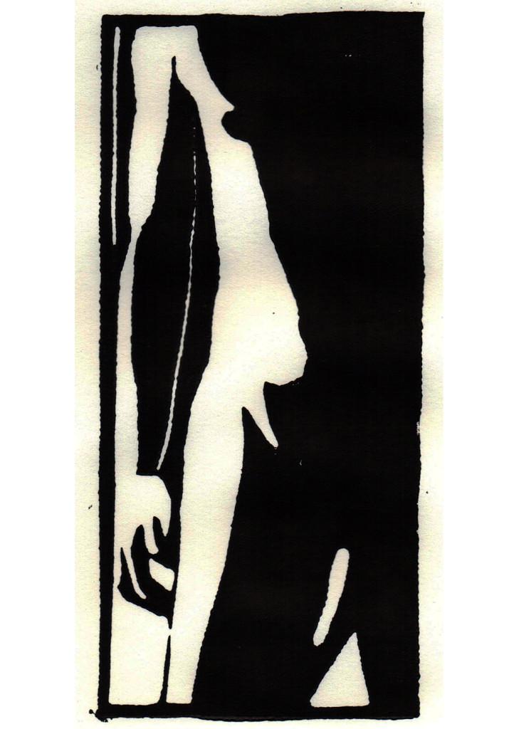 """Adam"", stebü, 07.08.2017, Linolschnitt, 21cm x 9cm"