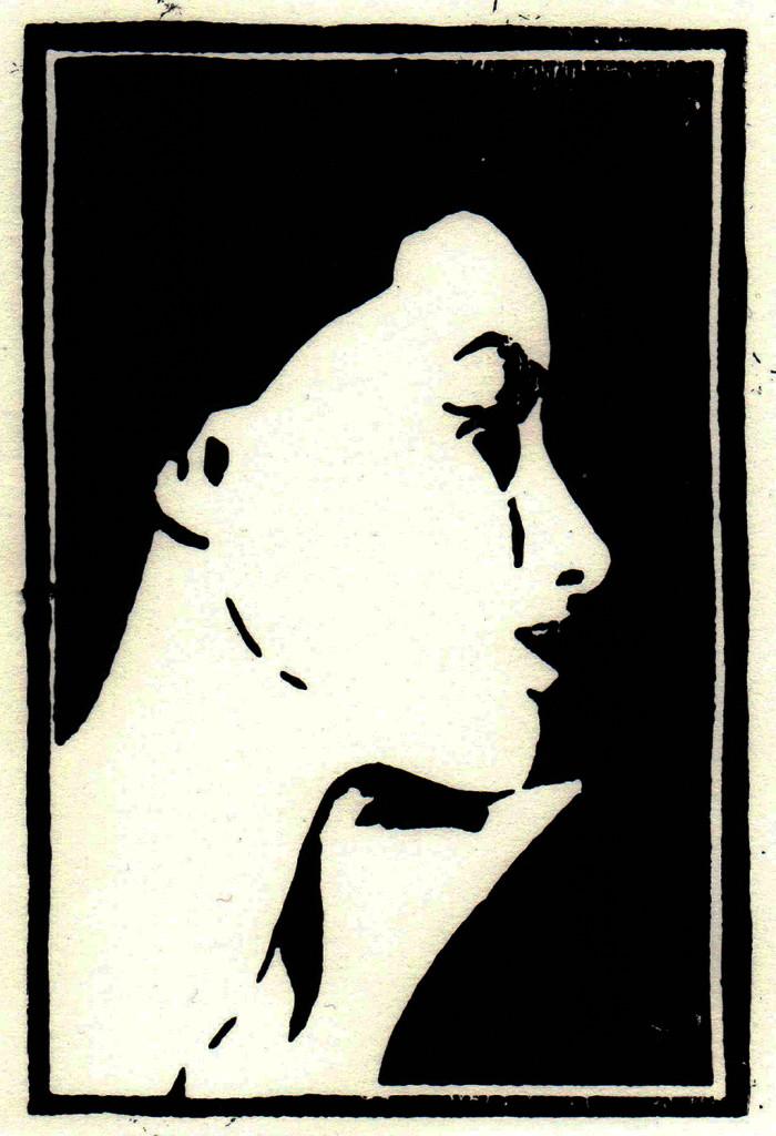 """Eva"", stebü, 25.08.2017, Linolschnitt, 15cm x 10cm"