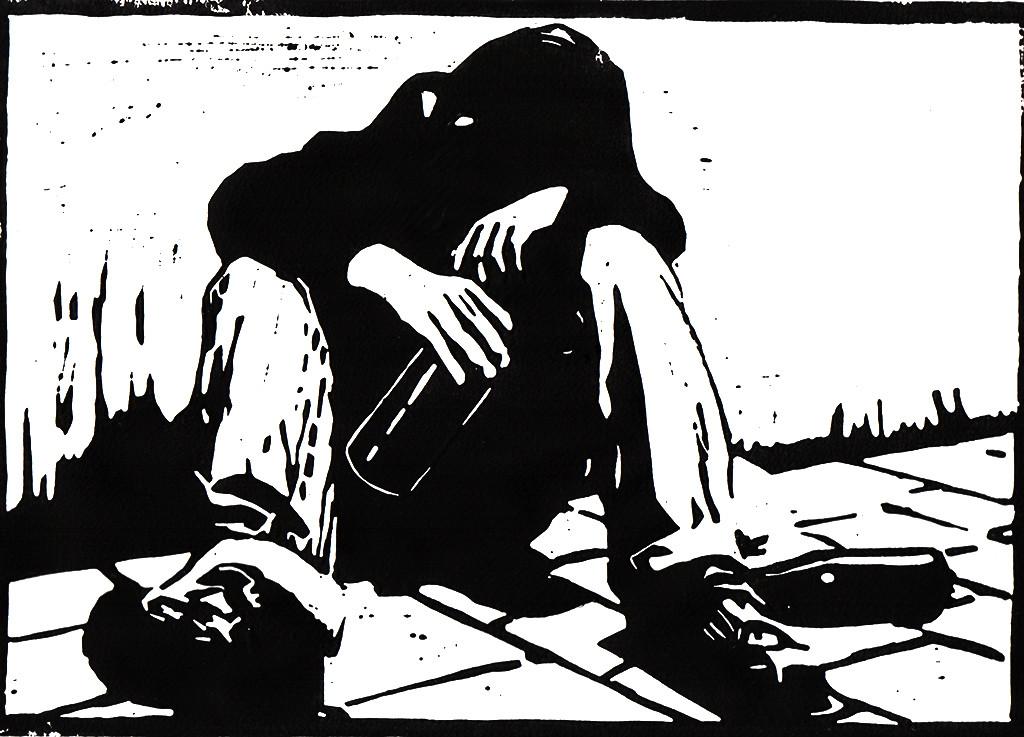 """Alltagsgeschichten, """"Wer mich findet, der findet das Leben / Sprüche 8,35"""", stebü, Linolschnitt, 18.11.2017, 30cm x 21cm"""