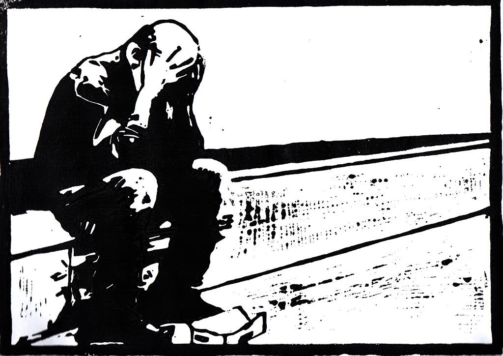 """Alltagsgeschichten, """"Freut euch mit den Fröhlichen, weint mit den Weinenden / Römer 12:15"""", stebü, Linolschnitt, 07.12.2017, 30cm x 21cm"""