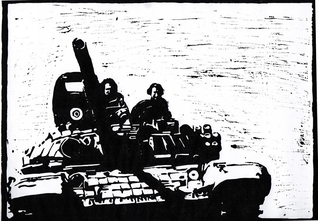 """Alltagsgeschichten,""""Selig sind, die Frieden stiften / Matthäus 5:9"""", stebü, Linolschnitt, 03.01.2018, 30cm x 21cm;  Krieg ist die Fortsetzung der Politik mit anderen Mitteln. C. v. Clausewitz; Mein Zorn gilt nicht den Soldaten!"""