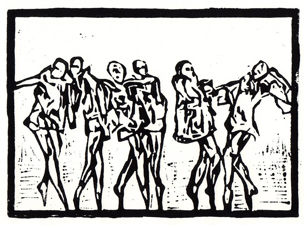 """""""Der Tanz"""", Linolschnitt, 21,00cm x 14,00 cm,stebü, 24.03.2018"""