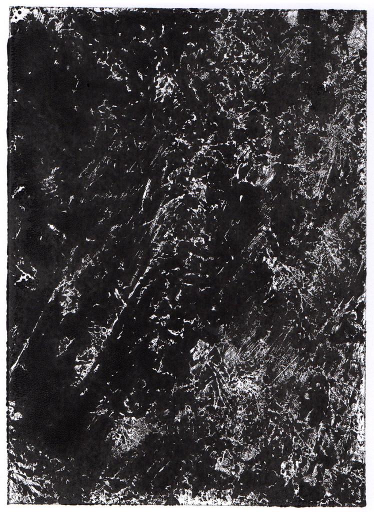 """Dunkelheit I"", Monotypie, 18,00 cm x 13,00 cm, stebü, 31.03.2018"