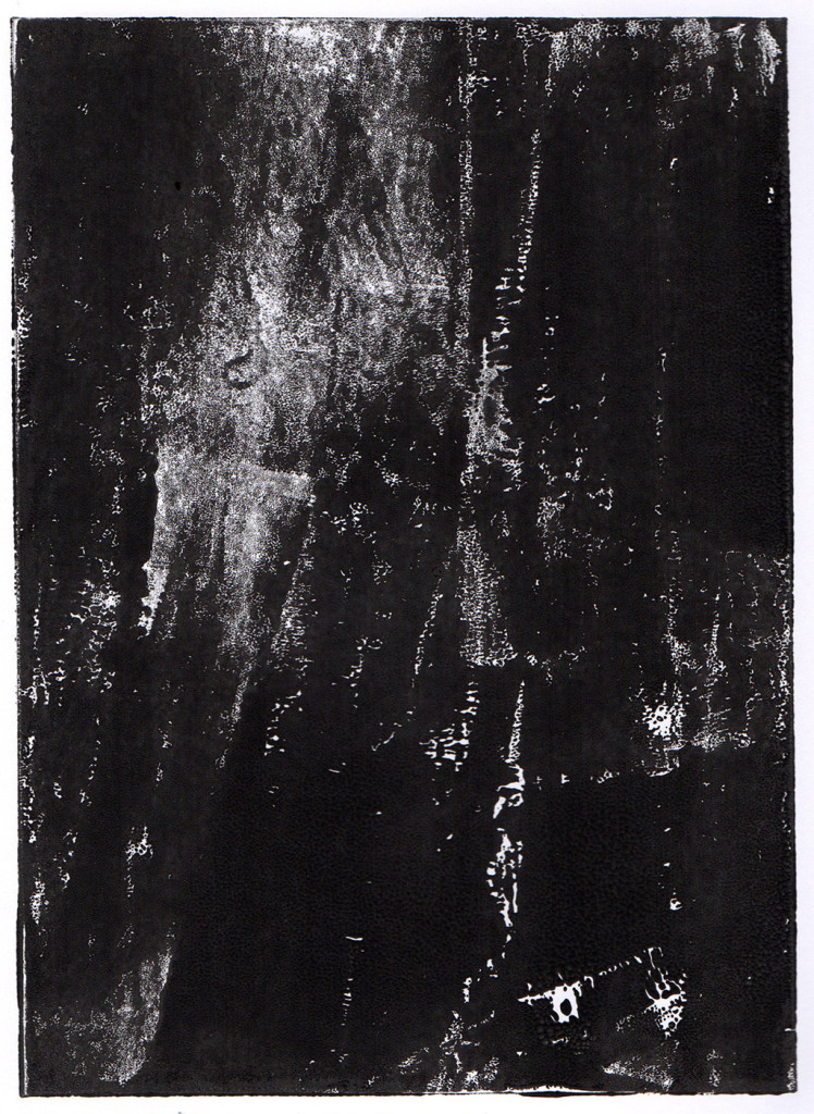 """Dunkelheit III"", Monotypie, 18,00 cm x 13,00 cm, stebü, 31.03.2018"
