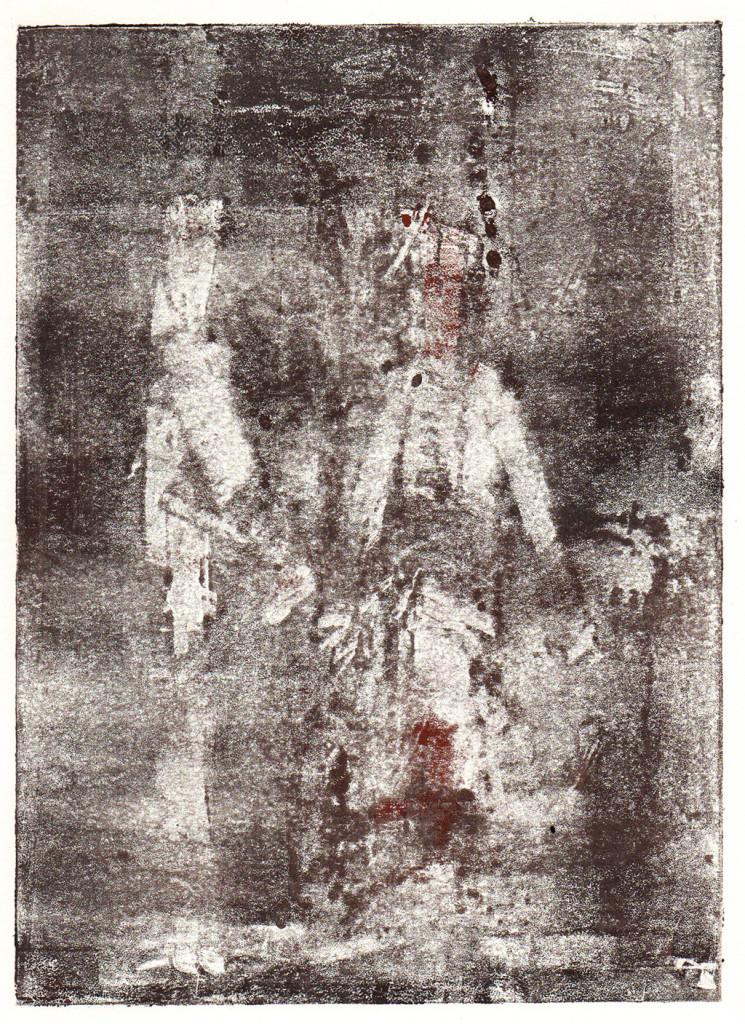 """""""Einzug der Gäste - Tannhäuser"""", nach Richard Wagner, Monotypie, 18,00 cm x 13,00 cm, stebü, 07.04.2018"""