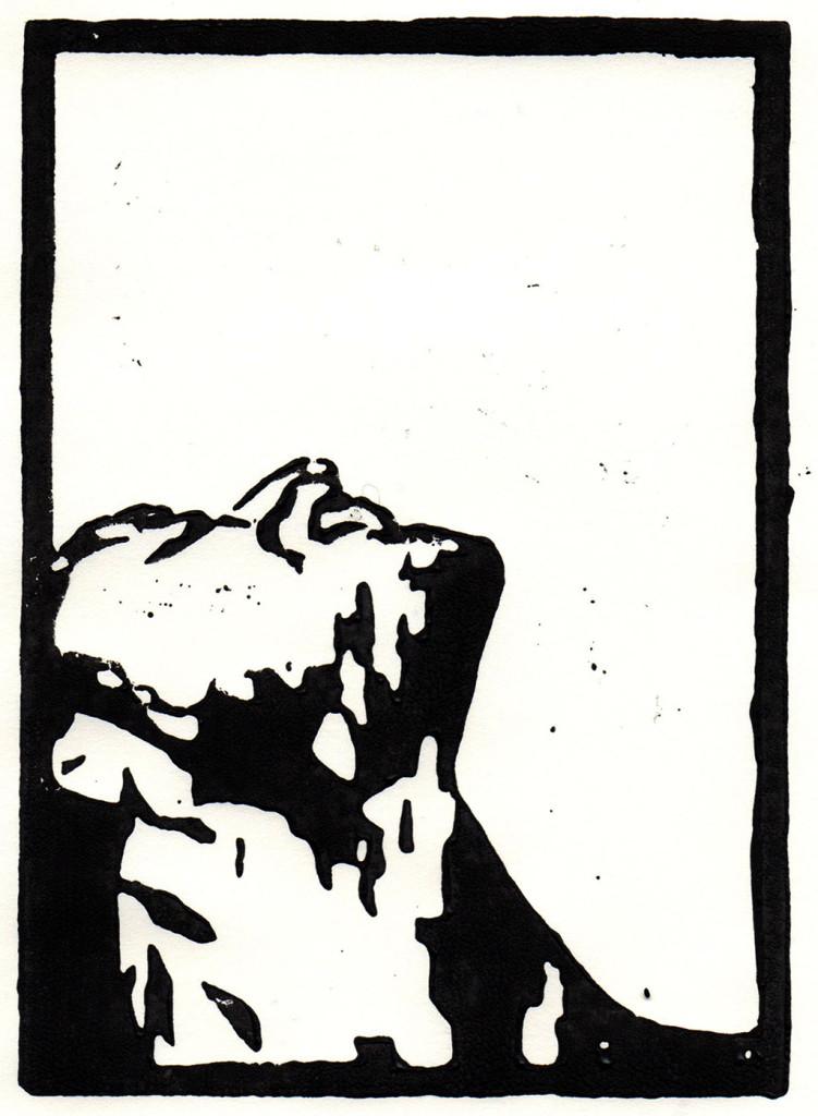 """Dolor"", stebü, 02.05.2018, Linolschnitt, 15cm x 10cm"