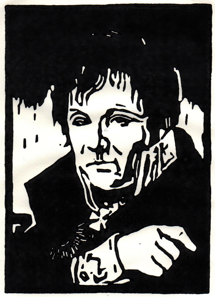 """""""Gerhard von Scharnhorst"""", nach einem Porträt von Friedrich Bury, stebü, 25.05.2018, Linolschnitt, 14,5cm x 10,5cm"""