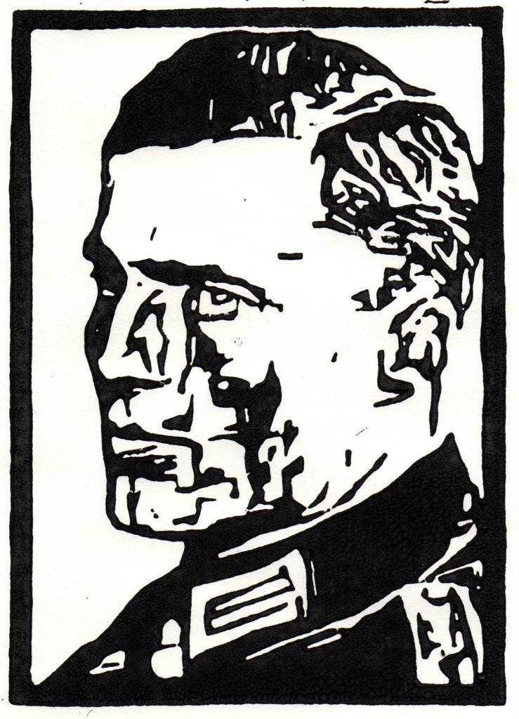 """""""Claus Schenk Graf von Stauffenberg"""", Linolschnitt, stebü, 12.06.2018, 14,5cm x 10,5cm"""