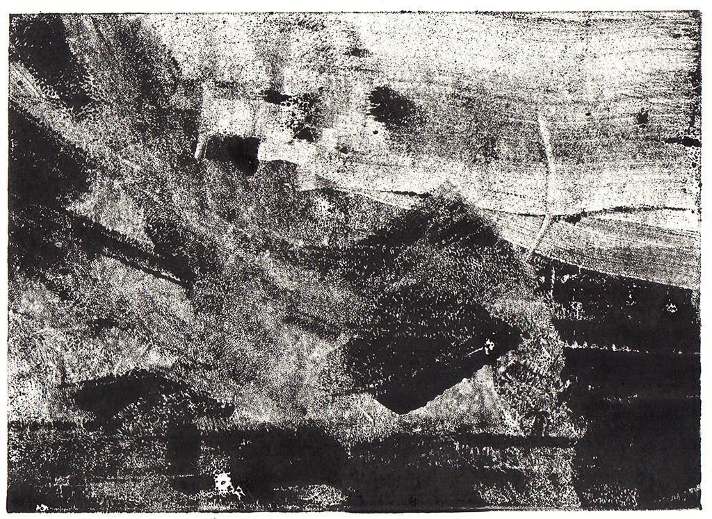"""""""Steilküste / Ostsee"""", Monotypie, 18,00 cm x 13,00 cm, stebü, 2018"""