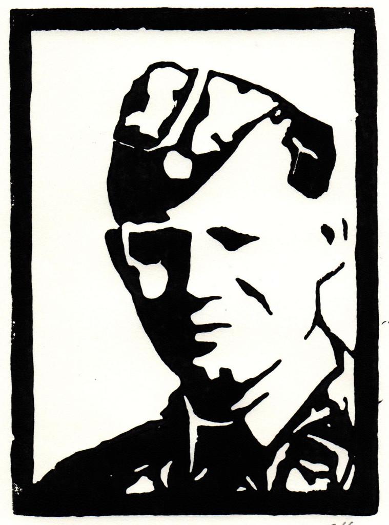 """""""Heute gilt es, alles dafür zu tun, den Frieden in Europa zu erhalten. Russland ist der größte Partner und der mächtigste Nachbar in Europa. Ohne Russland kann es in Europa keinen Frieden geben."""" Helmut Schmidt / 26.11.2014 / aus dem Vorwort `Mein Leutnant` von Daniil Granin """"Helmut Schmidt"""", Linolschnitt, stebü, 09.07.2018, 14,5cm x 10,5cm"""